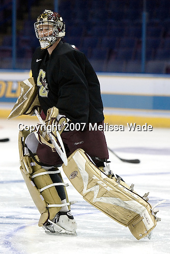 Joe Pearce (Boston College - Brick, NJ) takes part in the Boston College Eagles' morning skate on Thursday, April 5, 2007, at the Scottrade Center in St. Louis, Missouri.