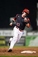 Batavia Muckdogs catcher Alex Jones (43) running the bases during a game against the Tri-City ValleyCats on July 14, 2017 at Dwyer Stadium in Batavia, New York.  Batavia defeated Tri-City 8-4.  (Mike Janes/Four Seam Images)