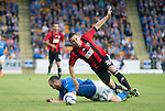 St Johnstone v FC Spartak Trnava...31.07.14  Europa League 3rd Round Qualifier<br /> Lee Croft and Ivan Schranz<br /> Picture by Graeme Hart.<br /> Copyright Perthshire Picture Agency<br /> Tel: 01738 623350  Mobile: 07990 594431