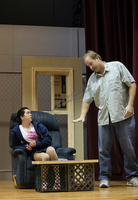"""Hannah Davis, as Kristina, acts out a scene with Scott Tootell during TheatreWork's rehearsal of """"Flirting With the Monster"""" taken on Sunday afternoon, January 5, 2014 at the Laxalt Auditorium."""
