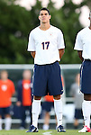 21 September 2012: Virginia's Brian James. The University of North Carolina Tar Heels defeated the University of Virginia Cavaliers 1-0 at Fetzer Field in Chapel Hill, North Carolina in a 2012 NCAA Division I Men's Soccer game.