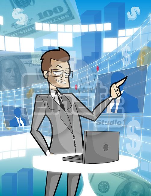 Businessman using a virtual screen