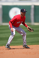 March 18, 2010:  Shortstop Derrik Gibson of the Boston Red Sox organization during Spring Training at Ft.  Myers Training Complex in Fort Myers, FL.  Photo By Mike Janes/Four Seam Images