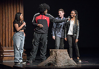 Apollo Night hosts Nina Reynoso '16 and Chance Ward '18 introduce EvaMarie David '19 and Daniel Capparella '18. Occidental College students perform and compete during Apollo Night, one of Oxy's biggest talent showcases, on Friday, Feb. 26, 2016 in Thorne Hall. Sponsored by ASOC, hosted by the Black Student Alliance as part of Black History Month.<br /> (Photo by Marc Campos, Occidental College Photographer)