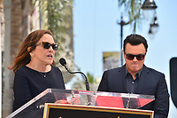 LOS ANGELES, USA. April 23, 2019: Ann Druyan & Seth MacFarlane at the Hollywood Walk of Fame Star Ceremony honoring actor, animator and comedian Seth MacFarlane.<br /> Picture: Paul Smith/Featureflash