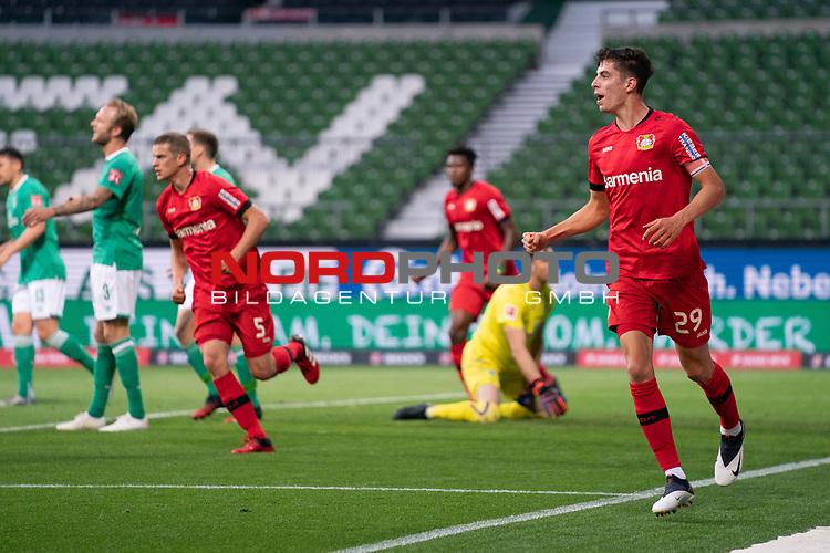Jubel Kai Havertz (Leverkusen #29),   nach dem 1:2 gegen Jiri Pavlenka (Werder Bremen #01) <br /> <br /> Sport: Fussball: 1. Bundesliga: Saison 19/20: <br /> 26. Spieltag: SV Werder Bremen vs Bayer 04 Leverkusen, 18.05.2020<br /> <br /> Foto ©  gumzmedia / Nordphoto / Andreas Gumz / POOL <br /> <br /> Nur für journalistische Zwecke! Only for editorial use!<br />  DFL regulations prohibit any use of photographs as image sequences and/or quasi-video.