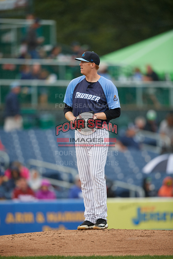 Trenton Thunder starting pitcher Ryan Bollinger (28) gets ready to deliver a pitch during a game against the New Hampshire Fisher Cats on August 19, 2018 at ARM & HAMMER Park in Trenton, New Jersey.  New Hampshire defeated Trenton 12-1.  (Mike Janes/Four Seam Images)