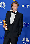 Brad Pitt 111 poses in the press room with awards at the 77th Annual Golden Globe Awards at The Beverly Hilton Hotel on January 05, 2020 in Beverly Hills, California.
