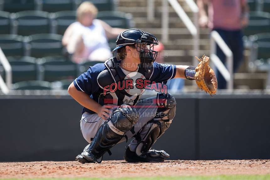 Asheville Tourists catcher Campbell Wear (35) on defense against the Kannapolis Intimidators at Kannapolis Intimidators Stadium on May 7, 2017 in Kannapolis, North Carolina.  The Tourists defeated the Intimidators 4-1.  (Brian Westerholt/Four Seam Images)