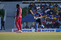 February 26th 2020, the Mahinda Rajapaksha International Stadium, Hambantota, Sri Lanka; One Day International cricket, Sri Lanka versus West Indies; Kusal Medis celebrates as he runs to make a century not out