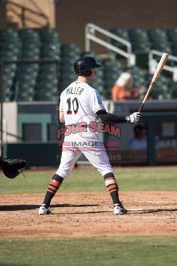 Salt River Rafters center fielder Brian Miller (10), of the Miami Marlins organization, at bat during an Arizona Fall League game against the Glendale Desert Dogs at Salt River Fields at Talking Stick on October 31, 2018 in Scottsdale, Arizona. Glendale defeated Salt River 12-6 in extra innings. (Zachary Lucy/Four Seam Images)