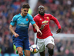 Konstantinos Mavropanos of Arsenal and Romelu Lukaku of Manchester United during the premier league match at the Old Trafford Stadium, Manchester. Picture date 29th April 2018. Picture credit should read: Simon Bellis/Sportimage