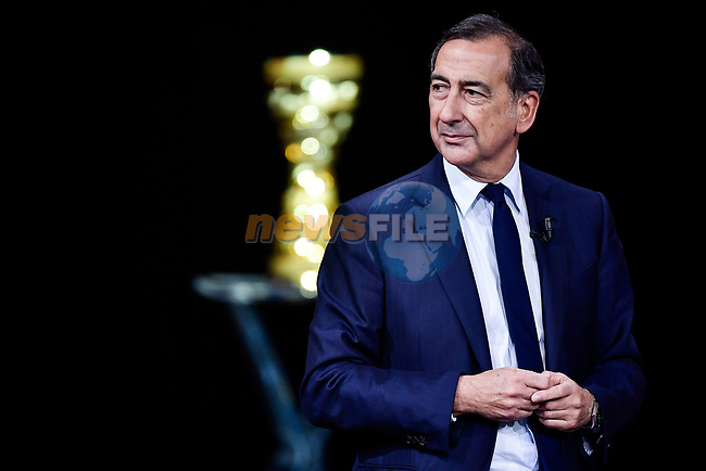 Giuseppe Sala on stage at the route presentation for the 103rd edition of the Giro d'Italia 2020 held in the RAI Studios, Milan, Italy. <br /> 24th October 2019.<br /> Picture: LaPresse/Marco Alpozzi | Cyclefile<br /> <br /> All photos usage must carry mandatory copyright credit (© Cyclefile | LaPresse/Marco Alpozzi)