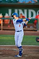 Connor Heady (9) of the Ogden Raptors bats against the Orem Owlz at Lindquist Field on September 2, 2017 in Ogden, Utah. Ogden defeated Orem 16-4. (Stephen Smith/Four Seam Images)