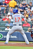 Chicago Cubs third baseman Kris Bryant (17) awaits a pitch during a game against the Atlanta Braves on July 18, 2015 in Atlanta, Georgia. The Cubs defeated the Braves 4-0. (Tony Farlow/Four Seam Images)