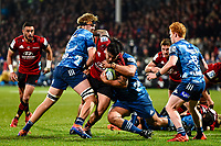 11th July 2020, Christchurch, New Zealand;  Codie Taylor of the Crusaders is tackled by Ofa Tu�ungafasi  and Josh Goodhue of the Blues during the Super Rugby Aotearoa, Crusaders versus Blues, at Orangetheory Stadium, Christchurch