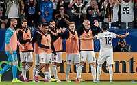 CARSON, CA - SEPTEMBER 21: Uriel Antuna #18 of the Los Angeles Galaxy scores his goal and celebrates with his teammates during a game between Montreal Impact and Los Angeles Galaxy at Dignity Health Sports Park on September 21, 2019 in Carson, California.