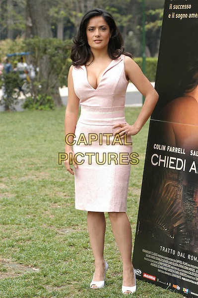 "SALMA HAYEK.Photocall for ""Ask The Dust"" at Casa Del Cinema, Rome, Italy..April 26th, 2006.Ref: CAV.full length pink cleavage dress hand on hip.www.capitalpictures.com.sales@capitalpictures.com.© Capital Pictures."