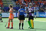 The Hague, Netherlands, June 14: Rachael Lynch #27 of Australia argues with the umpire during the field hockey gold medal match (Women) between Australia and The Netherlands on June 14, 2014 during the World Cup 2014 at Kyocera Stadium in The Hague, Netherlands. Final score 2-0 (2-0)  (Photo by Dirk Markgraf / www.265-images.com) *** Local caption ***