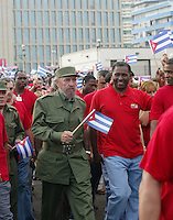 The Cuban Presiden Fidel Castro, march by the Avenue of the Malecon, front of the Interests Section of the United States.Tuesday, May 17, 2005.<br />  Overview of Havana, Cuba, where the US Interests Section of the United States observed. Cuba was removed from the U.S. black list of nations that support international terrorism Friday, clearing away an obstacle for resumption of diplomatic relations between the two countries. . Credit: Jorge Rey/MediaPunch
