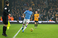 27th December 2019; Molineux Stadium, Wolverhampton, West Midlands, England; English Premier League, Wolverhampton Wanderers versus Manchester City; Kyle Walker of Manchester City running next to the side line with the ball at his feet looking for a pass