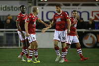 Wrexham players celebrate their opening goal which was an own goal during Maidstone United vs Wrexham, Vanarama National League Football at the Gallagher Stadium on 17th November 2018