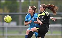 20190427 - Waregem , BELGIUM : Sarah Verschaeve (L) and Jolien De Block (R)   pictured during the final of the Beker van West-Vlaanderen 2019 , a soccer women game between SV Bredene and Famkes Westhoek Diksmuide Merkem B  , in the  Mirakelstadion in Waregem , Satuday 27 th April 2019 . PHOTO SPORTPIX.BE | DIRK VUYLSTEKE
