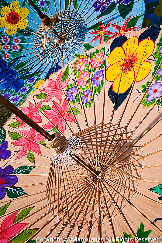 Colorful hand made decorative umbrellas at Umbrella Making Center, Bo Sang, near Chiang Mai, Thailand