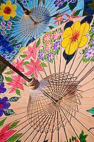 Colorful hand made decorative umbrellas at Umbrella Making Center, Bo Sang, near Chiang Mai, Thailand