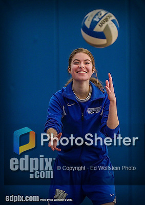 27 October 2013: Yeshiva University Maccabee Setter Shana Wolfstein, a Junior from Burlington, VT, warms up prior to a game against the College of Mount Saint Vincent Dolphins at the College of Mount Saint Vincent in Riverdale, NY. The Dolphins defeated the Maccabees 3-0 in NCAA women's volleyball play. Mandatory Credit: Ed Wolfstein Photo *** RAW (NEF) Image File Available ***