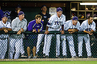 TCU dugout cheering team on;April 27th, 2010; NCAA Baseball action, Baylor University Bears vs TCU Horned Frogs at Lupton Stadium in Fort Worth, Tx;  TCU won 5-4 in extra innings.