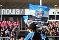 A view of a Bath Rugby flag. Aviva Premiership match, between Bath Rugby and London Wasps on February 22, 2014 at the Recreation Ground in Bath, England. Photo by: Patrick Khachfe / Onside Images