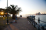 Early morning views of Sydney's Opera House, the harbor and the Harbour Bridge from North Sydney, near Luna Park.