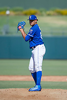 Kansas City Royals pitcher Julio Pinto (68) prepares to deliver a pitch to the plate during an Instructional League game against the Cincinnati Reds on October 2, 2017 at Surprise Stadium in Surprise, Arizona. (Zachary Lucy/Four Seam Images)