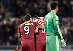 Calcio, Serie A: Roma vs Milan. Roma, stadio Olimpico, 22 dicembre 2012..AS Roma forward Erik Lamela, of Argentina, center, celebrates with teammate Erik Lamela, left, after scoring during the Italian Serie A football match between AS Roma and AC Milan at Rome's Olympic stadium, 22 December 2012.UPDATE IMAGES PRESS/Riccardo De Luca