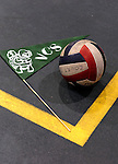 8 November 2009: A VCS pennant and volleyball lie on the floor at the 2009 High School Volleyball State Championships hosted by Vermont Commons School at the Sports and Fitness Edge in South Burlington, Vermont. The Enosburg Falls Hornets successfully defended their boys' title while the VCS Flying Turtles rallied to maintain their girls' team crown. Mandatory Credit: Ed Wolfstein Photo
