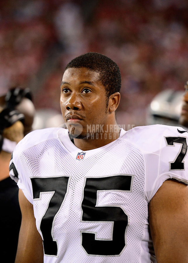 Aug. 17, 2012; Glendale, AZ, USA; Oakland Raiders defensive end Hall Davis against the Arizona Cardinals during a preseason game at University of Phoenix Stadium. The Cardinals defeated the Raiders 31-27. Mandatory Credit: Mark J. Rebilas-