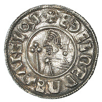 BNPS.co.uk (01202 558833)<br /> Pic: DNW/BNPS<br /> <br /> Mint silver penny of King Ethelred II - showing the Anglo-saxon kings head.<br /> <br /> A builder is celebrating today after an enormous hoard of silver coins he unearthed sold for £90,000.<br /> <br /> Don Crawley was searching farmland with his metal detector when he stumbled upon the buried treasure.<br /> <br /> He dug up 99 silver coins - 81 pennies and 18 cut halfpennies - all dating back to Anglo Saxon England and the reign of King Ethelred II from 978-1016AD.<br /> <br /> The discovery was made on farmland in Suffolk and research has established that the site used to be the grounds of a long-forgotten Saxon church. Specialists even later uncovered the remains of human bones from the site dating back over 1,000 years.<br /> <br /> Don's hoard went under the hammer with London auctioneers Dix Noonan Webb - with the coins substantially out-performing their £50,000 pre-sale estimate.