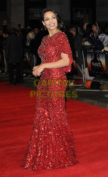 Rosario Dawson.'Trance' World premiere held at Odeon West End, London, England..19th March 2013.full length red dress beads beaded sequins sequined side  .CAP/CAN.©Can Nguyen/Capital Pictures.