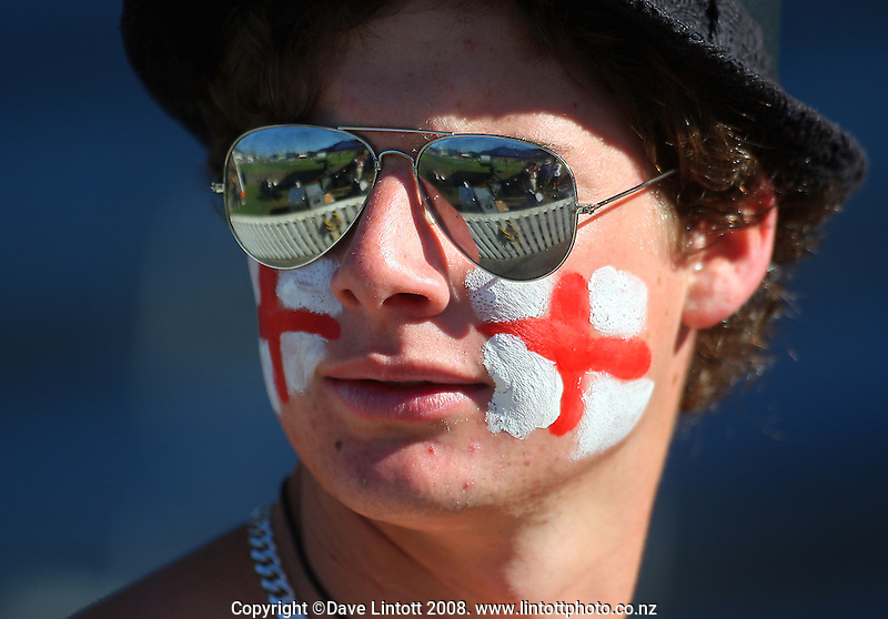 An England fan. National Bank Test Match Series, New Zealand v England, 2nd Test at Allied Prime Basin Reserve, Wellington, New Zealand. Day 3. Saturday, 15 March 2008. Photo: Dave Lintott / lintottphoto.co.nz