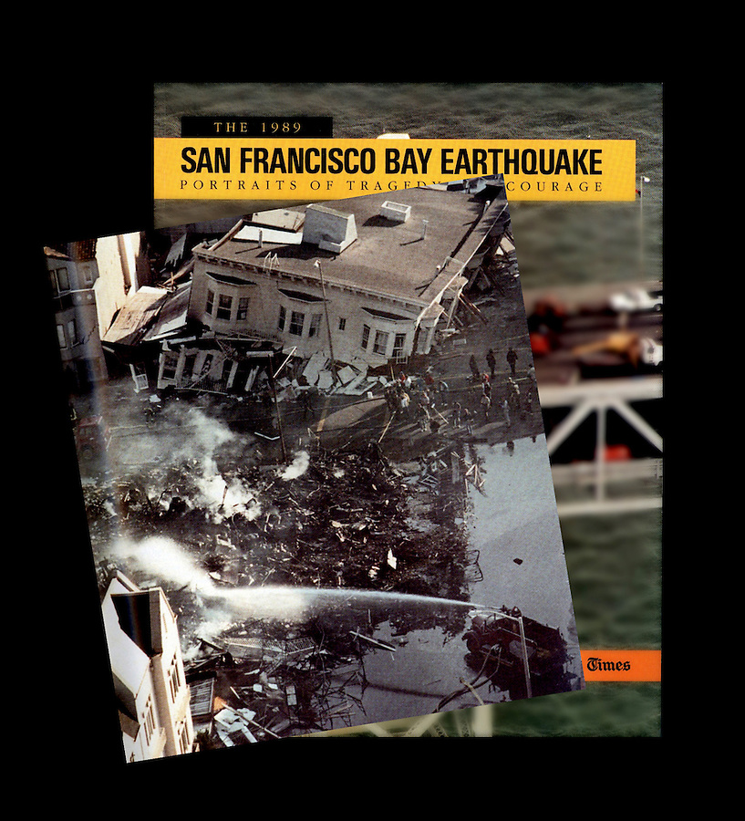 "Los Angeles Times instant book ""The 1989 San Francisco Bay Earthquake, Portraits of Tragedy and Courage."" This is an inside photo on top the cover of the book."
