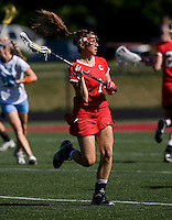 Jessi Steinberg (1) of Cornell looks for a teammate during their game at St. Stephens and St. Agnes High School in Alexandria, VA.  North Carolina defeated Cornell, 13-7.