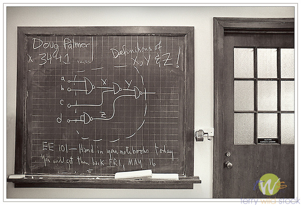 1980 classroom chalkboard.Bucknell University