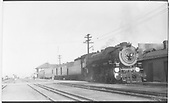 D&amp;RGW standard gauge 4-8-2 #1504 with 3-car train #16 stopped at Alamosa depot.<br /> D&amp;RGW  Alamosa, CO  Taken by Perry, Otto C. - 4/13/1952