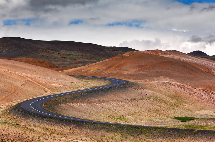 Ring Road curving through Namafjall Hverir Geothermal Area, North Iceland, Iceland