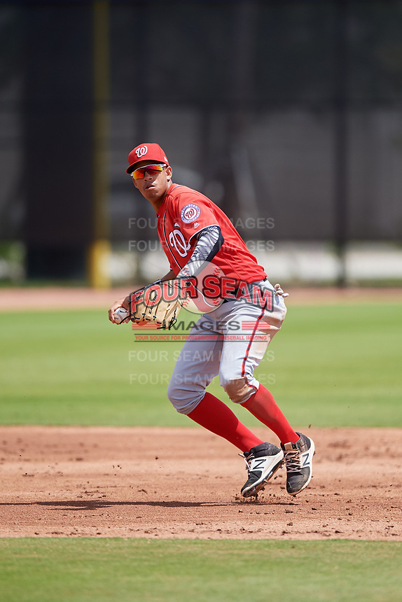 Washington Nationals Luis Garcia (7) during a Minor League Spring Training game against the Miami Marlins on March 28, 2018 at FITTEAM Ballpark of the Palm Beaches in West Palm Beach, Florida.  (Mike Janes/Four Seam Images)