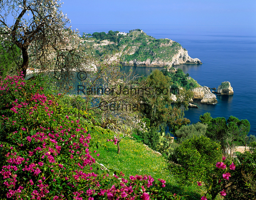 Italy, Sicily, view from Taormina at Isola Bella