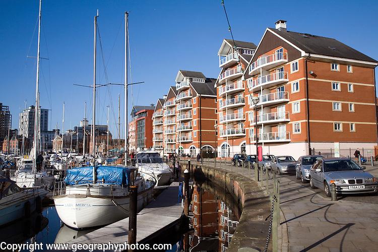 Modern waterside apartment buildings, Wet Dock redevelopment, Ipswich, Suffolk, England