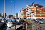 Modern waterside apartment buildings, Wet Dock redevelopment, Ipswich, Suffolk, England