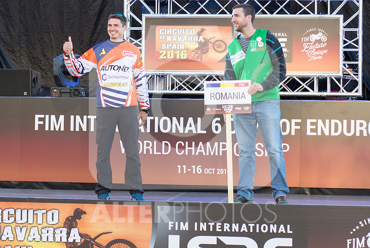 Romania enduro team during the presentation of the FIM international six days of enduro 2016 in Pamplona, Spain. October 09, 2016. (ALTERPHOTOS/Rodrigo Jimenez)
